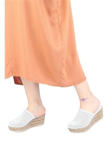 Modabuymus Modabuymus Hakiki Deri  Delikli Dolgu Topuklu Terlik - AlpDer Beyaz